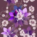 Floral άνευ ραφής διανυσματικό σχέδιο με τα λουλούδια στο ύφος watercolor Στοκ Εικόνες