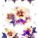 Floral άνευ ραφής διανυσματικό σχέδιο με τα λουλούδια στο ύφος watercolor Στοκ φωτογραφίες με δικαίωμα ελεύθερης χρήσης