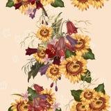 Floral άνευ ραφής διανυσματικό σχέδιο με τα λουλούδια Στοκ Εικόνες