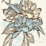 Floral άνευ ραφής διανυσματικό σχέδιο με τα λουλούδια Στοκ Φωτογραφίες