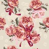 Floral άνευ ραφής διανυσματικό σχέδιο με τα τριαντάφυλλα Στοκ Εικόνα