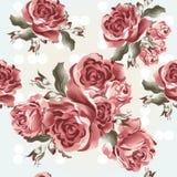 Floral άνευ ραφής διανυσματικό σχέδιο ταπετσαριών με τα τριαντάφυλλα στο εκλεκτής ποιότητας s Στοκ εικόνες με δικαίωμα ελεύθερης χρήσης