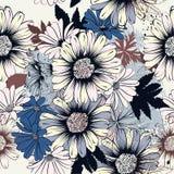 Floral άνευ ραφής διανυσματικό υπόβαθρο με τα λουλούδια για το σχέδιο Στοκ Φωτογραφία