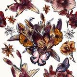 Floral άνευ ραφής διανυσματικό υπόβαθρο με τα λουλούδια ύφους watercolor Στοκ φωτογραφίες με δικαίωμα ελεύθερης χρήσης