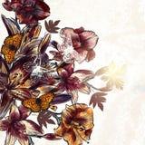 Floral άνευ ραφής διανυσματικό υπόβαθρο με τα λουλούδια ύφους watercolor Στοκ εικόνες με δικαίωμα ελεύθερης χρήσης