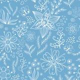 Floral άνευ ραφής λευκό προτύπων Στοκ Εικόνα