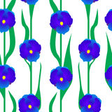 Floral άνευ ραφής με τα μπλε λουλούδια Στοκ φωτογραφία με δικαίωμα ελεύθερης χρήσης