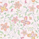floral άνευ ραφής πεταλούδων ανασκόπησης Στοκ Εικόνες
