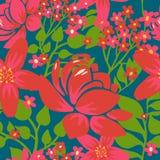 Floral άνευ ραφής πρότυπο με τα κόκκινα λουλούδια Στοκ Εικόνες