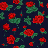 Floral άνευ ραφής πρότυπο με τα τριαντάφυλλα Στοκ εικόνα με δικαίωμα ελεύθερης χρήσης
