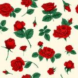 Floral άνευ ραφής πρότυπο με τα τριαντάφυλλα απεικόνιση αποθεμάτων