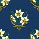 Floral άνευ ραφής πρότυπο με τους ναρκίσσους Στοκ φωτογραφίες με δικαίωμα ελεύθερης χρήσης