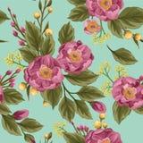 Floral άνευ ραφής σχέδιο με τα peonies απεικόνιση αποθεμάτων