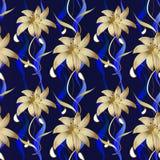 Floral άνευ ραφής σχέδιο πολυτέλειας Διανυσματικό σκούρο μπλε ριγωτό backgro Στοκ Εικόνες