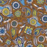 Floral άνευ ραφής σχέδιο του Paisley με τα παραδοσιακά περσικά στοιχεία μοτίβου και mehndi buta στο καφετί υπόβαθρο τυποποιημένος απεικόνιση αποθεμάτων
