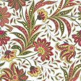 Floral άνευ ραφής σχέδιο φύλλων και λουλουδιών Αφηρημένος κλάδος με τα φύλλα Στοκ φωτογραφία με δικαίωμα ελεύθερης χρήσης