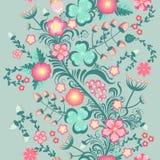 Floral άνευ ραφής σχέδιο άνοιξη στα μαλακά χρώματα κρητιδογραφιών Στοκ Εικόνες