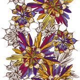 Floral άνευ ραφής σχέδιο με τα ζωηρόχρωμα λουλούδια Στοκ Εικόνες