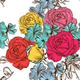 Floral άνευ ραφής σχέδιο με τα ζωηρόχρωμα τριαντάφυλλα Στοκ εικόνες με δικαίωμα ελεύθερης χρήσης