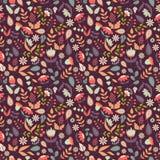 Floral άνευ ραφής σχέδιο με τα λουλούδια και τα φύλλα doodle Στοκ Εικόνα