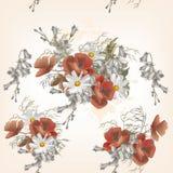 Floral άνευ ραφής σχέδιο με τα λουλούδια στο ύφος watercolor Στοκ φωτογραφία με δικαίωμα ελεύθερης χρήσης