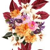 Floral άνευ ραφής σχέδιο με τα λουλούδια στο ύφος watercolor Στοκ Εικόνα