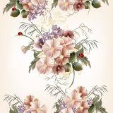 Floral άνευ ραφής σχέδιο με τα λουλούδια τομέων Στοκ Εικόνες