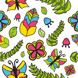 Floral άνευ ραφής σχέδιο με τα λουλούδια Απεικόνιση αποθεμάτων