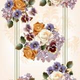 Floral άνευ ραφής σχέδιο με τα τριαντάφυλλα και τα λουλούδια στο watercolor ST Στοκ φωτογραφία με δικαίωμα ελεύθερης χρήσης