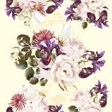 Floral άνευ ραφής σχέδιο με τα τριαντάφυλλα και τα λουλούδια στο watercolor ST Στοκ φωτογραφίες με δικαίωμα ελεύθερης χρήσης