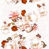 Floral άνευ ραφής σχέδιο με τα τριαντάφυλλα στο εκλεκτής ποιότητας ύφος Στοκ Φωτογραφίες