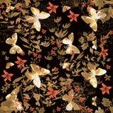 Floral άνευ ραφής σχέδιο με την πεταλούδα διανυσματική απεικόνιση