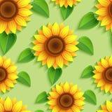 Floral άνευ ραφής σχέδιο με τους τρισδιάστατους ηλίανθους διανυσματική απεικόνιση