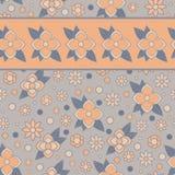 Floral άνευ ραφής σχέδιο με το λωρίδα Στοκ Εικόνα
