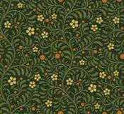 Floral άνευ ραφής σχέδιο, σκούρο πράσινο Στοκ Φωτογραφία