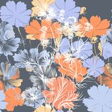 Floral άνευ ραφής σχέδιο ταπετσαριών με τα μπλε λουλούδια Στοκ Εικόνες