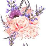 Floral άνευ ραφής σχέδιο ταπετσαριών με τα λουλούδια Στοκ Φωτογραφία