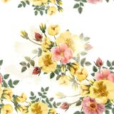 Floral άνευ ραφής σχέδιο ταπετσαριών με τα τριαντάφυλλα στο αναδρομικό ύφος Στοκ εικόνα με δικαίωμα ελεύθερης χρήσης