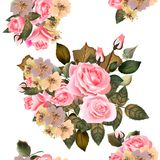 Floral άνευ ραφής σχέδιο ταπετσαριών με τα τριαντάφυλλα Στοκ φωτογραφία με δικαίωμα ελεύθερης χρήσης