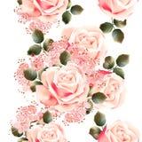 Floral άνευ ραφής σχέδιο ταπετσαριών με τα τριαντάφυλλα Στοκ Εικόνες