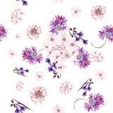 Floral άνευ ραφής σχέδιο ταπετσαριών με το τρυφερό ρόδινο και πορφυρό φ Στοκ Εικόνα