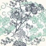 Floral άνευ ραφής σχέδιο ταπετσαριών στο μπλε Στοκ φωτογραφία με δικαίωμα ελεύθερης χρήσης