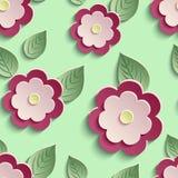 Floral άνευ ραφής σχέδιο υποβάθρου με τα τρισδιάστατα λουλούδια Στοκ Εικόνα