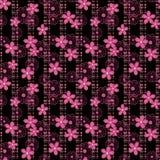Floral άνευ ραφής σχέδιο, χαριτωμένο ρόδινο υπόβαθρο λωρίδων λουλουδιών μαύρο Στοκ φωτογραφία με δικαίωμα ελεύθερης χρήσης