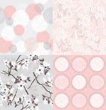 floral άνευ ραφής σύνολο προτύπ&omeg ελεύθερη απεικόνιση δικαιώματος