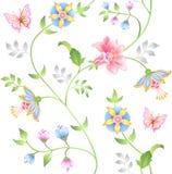 floral άνευ ραφής σύνολο στοιχείων ντεκόρ Στοκ εικόνα με δικαίωμα ελεύθερης χρήσης
