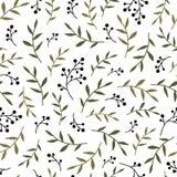 Floral άνευ ραφής σύσταση σχεδίων με τα μαύρα κλαδάκια και τα φύλλα μούρων Στοκ Εικόνα