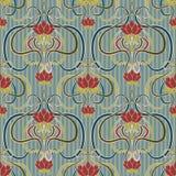 Floral άνευ ραφής ταπετσαρία στο ύφος nouveau τέχνης, διάνυσμα Στοκ φωτογραφία με δικαίωμα ελεύθερης χρήσης