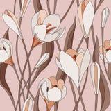 Floral άνευ ραφής υπόβαθρο. ευγενές σχέδιο λουλουδιών. Στοκ Φωτογραφία