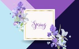 Floral έμβλημα ανοίξεων άνθισης με τα πορφυρά λουλούδια της Iris Πρόσκληση, αφίσα, πρότυπο ιπτάμενων ευχετήριων καρτών Στοκ φωτογραφία με δικαίωμα ελεύθερης χρήσης